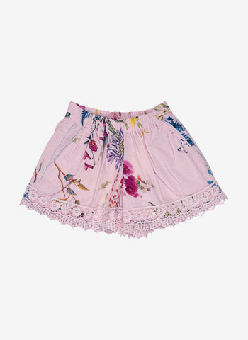 Ujala Shorts with Lace in Pink Floral