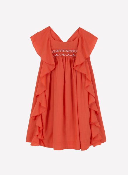 Velveteen Amber Butterfly Back Frill Dress in Tomato - FINAL SALE