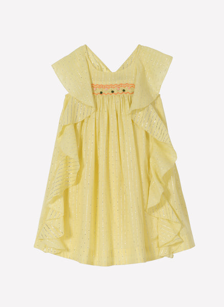 Velveteen Amber Butterfly Back Frill Dress in Zest - FINAL SALE