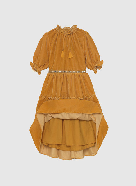 Velveteen Carolina 3/4 Sleeve Tiered Dress in Honey Velvet
