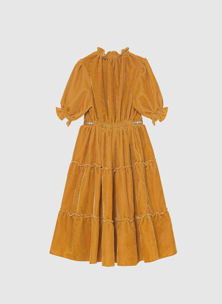 Velveteen Carolina 3/4 Sleeve Tiered Dress in Honey Velvet - FINAL SALE
