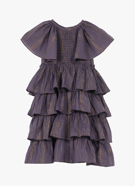 Velveteen Josephine Dress in Wildberry Lurex Stripe - FINAL SALE