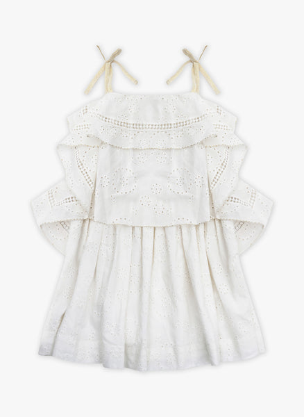 Velveteen Lois Princess Frill Dress in Milk Cotton Shiffili - FINAL SALE