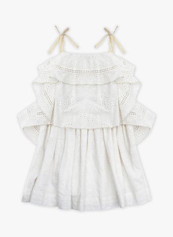 Velveteen Lois Princess Frill Dress in Milk Cotton Shiffili