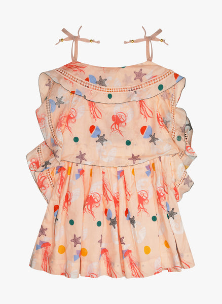 Velveteen Lois Princess Frill Dress in Sea Creatures Print
