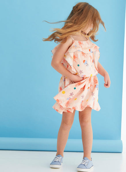 Velveteen Lois Princess Frill Dress in Sea Creatures Print - FINAL SALE