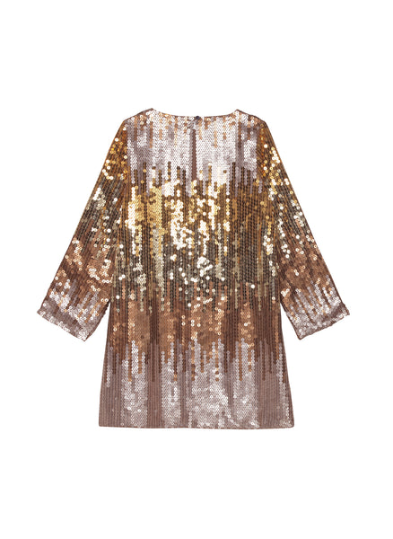 Velveteen Veronica L/S Shift Dress in Gold Multi Sequins - FINAL SALE