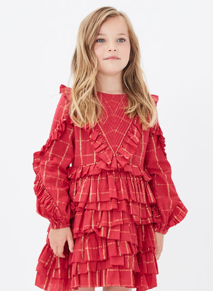 Velveteen Winona Dress in Red Lurex