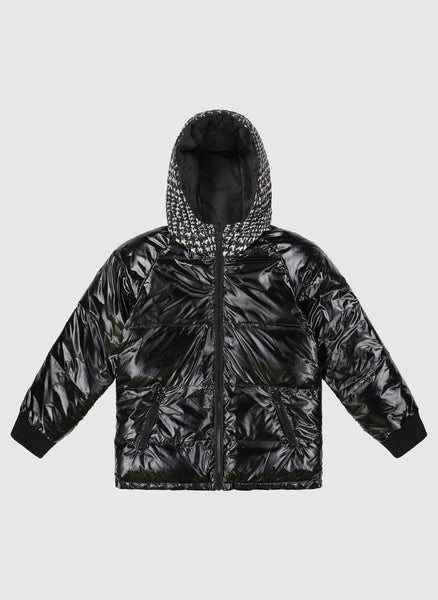 Vierra Rose Caley Reversible Puffer in Black and White Plaid - FINAL SALE