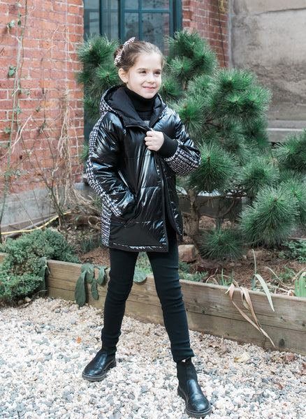 Vierra Rose Caley Reversible Puffer in Black and White Plaid