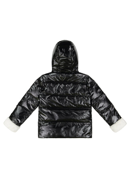 Vierra Rose Galya Faux Fur Combo Puffer in Black and White