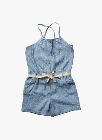 Vierra Rose Alexa Romper in Star Chambray - FINAL SALE