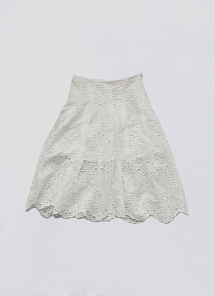Vierra Rose Andrea Eyelet Midi Skirt in Cream Eyelet - FINAL SALE