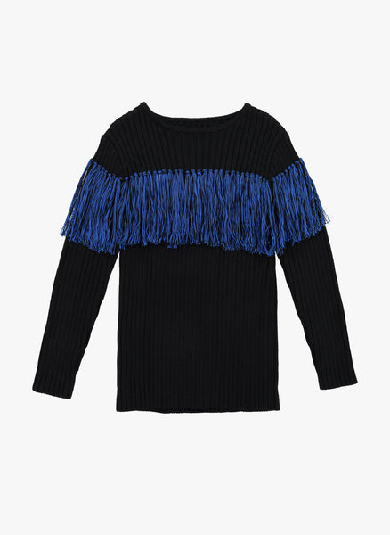 Vierra Rose Anita Bi-Color Fringe Sweater in Blue Fringe