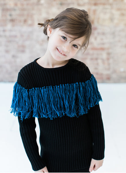 Vierra Rose Anita Bi-Color Fringe Sweater in Blue Fringe - FINAL SALE