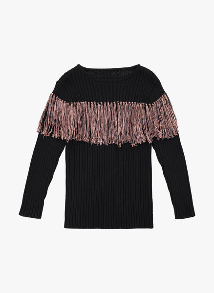 Vierra Rose Anita Bi-Color Fringe Sweater in Nude Fringe - FINAL SALE