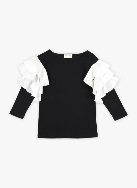 Vierra Rose Apoline Ruffle Sleeve Combo Top in Black - FINAL SALE