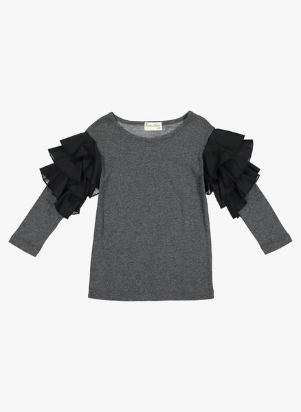 Vierra Rose Apoline Ruffle Sleeve Combo Top in Grey - FINAL SALE