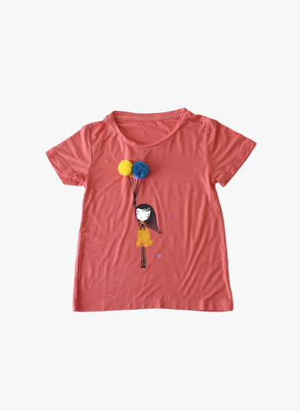 Vierra Rose Ariel Pom Pom Balloon Tee in Coral - FINAL SALE