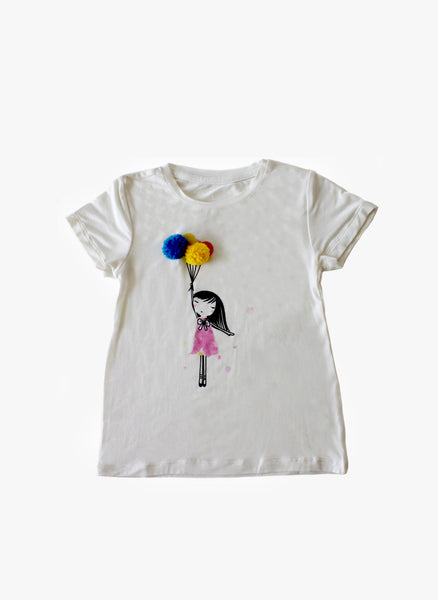 Vierra Rose Ariel Pom Pom Balloon Tee in Ivory - FINAL SALE
