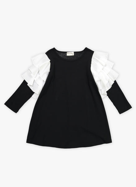 Vierra Rose Audrey Contrast Ruffle Sleeve Dress in Black/Ivory Ruffle