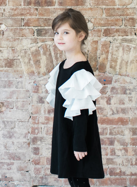 Vierra Rose Audrey Contrast Ruffle Sleeve Dress in Black/Ivory Ruffle - FINAL SALE