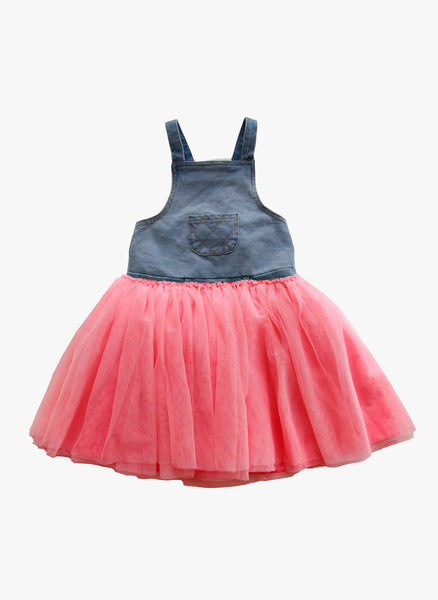 Vierra Rose Avery Denim Tutu Overall in Coral - FINAL SALE