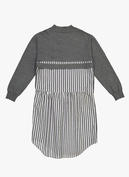 Vierra Rose Brigitte Sweater Woven Shirt Dress in Grey/ Stripe - FINAL SALE