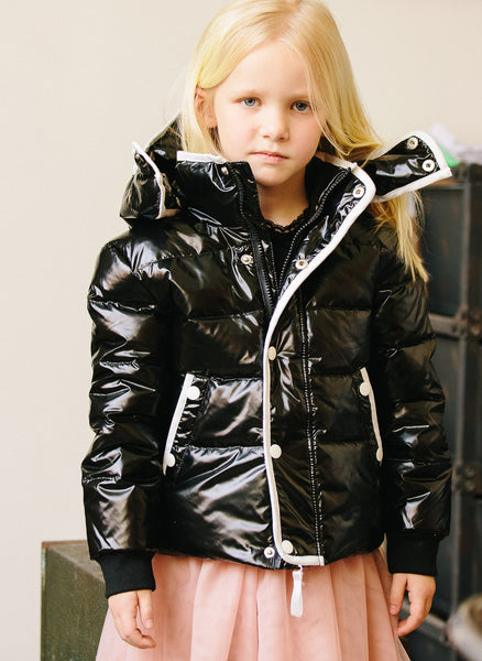 Vierra Rose Unisex Brooklyn Puffer Jacket in Shiny Black - J8005