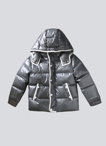 Vierra Rose Unisex Brooklyn Puffer Jacket in Shiny Grey