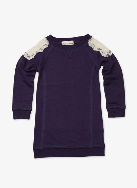Vierra Rose Carrie Lace Sweatshirt Dress in Midnight Blue - FINAL SALE