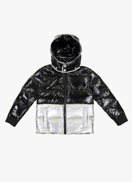 Vierra Rose Chelsea Color Block Puffer in Black/Silver - FINAL SALE