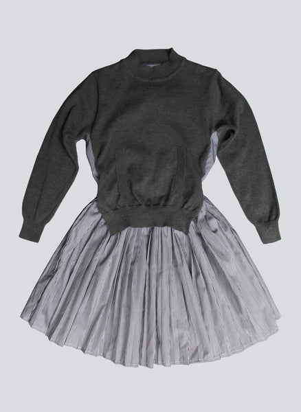 Vierra Rose Claire Sweater Front Combo Dress in Grey