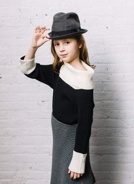 Vierra Rose Clara Colorblock Sweater in Black/White - FINAL SALE
