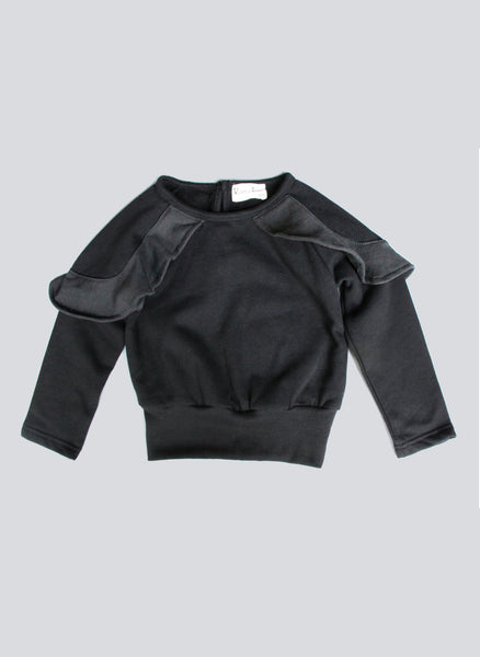 Vierra Rose Cora Ruffle detail Sweatshirt in Black/Grey