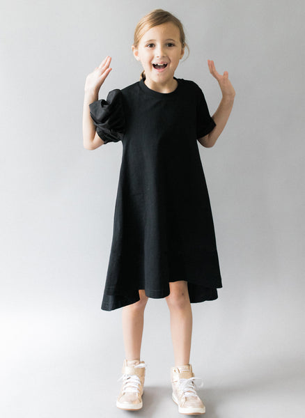 Vierra Rose Aerin One Side Woven Puff Sleeve Dress in Black - FINAL SALE