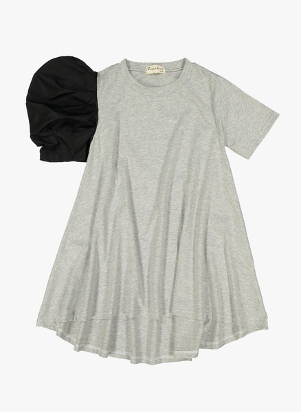 Vierra Rose Aerin One Side Woven Puff Sleeve Dress in Grey - FINAL SALE