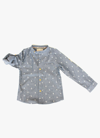 Vierra Rose Dino Stand Collar Shirt in Anchor Print - FINAL SALE