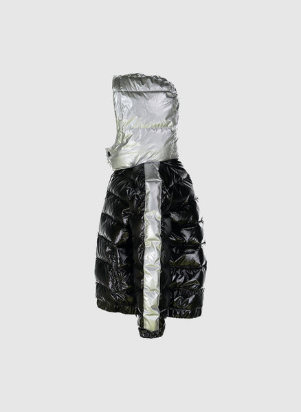 Vierra Rose Drew Contrast Sleeve Puffer in Black/Silver *Hello Alyss Exclusives* - FINAL SALE