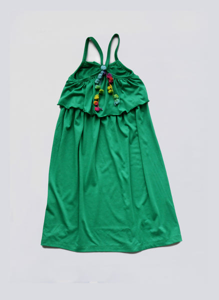 Vierra Rose Elana Long Pom Pom Dress in Emerald Jersey - FINAL SALE