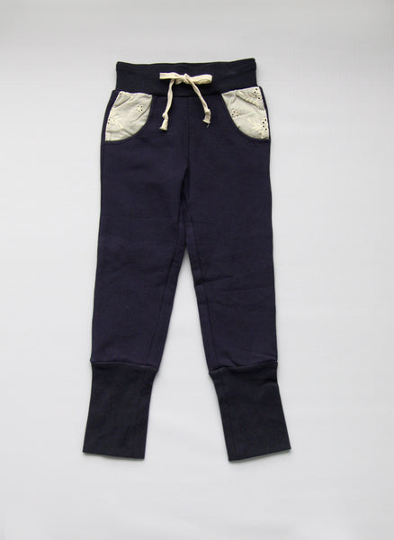 Vierra Rose Ella Eyelet Sweatpants in Navy - P5009 - FINALE SALE