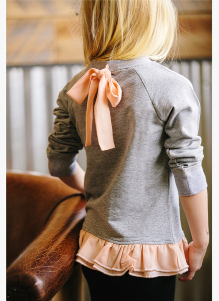 Vierra Rose Emma Ruffle Bottom Sweatshirt in Heather Grey/Coral - FINAL SALE