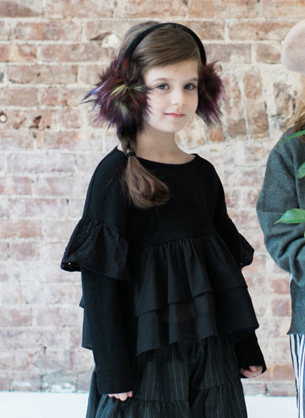 Vierra Rose Francine Ruffle L/S Top in Black - FINAL SALE