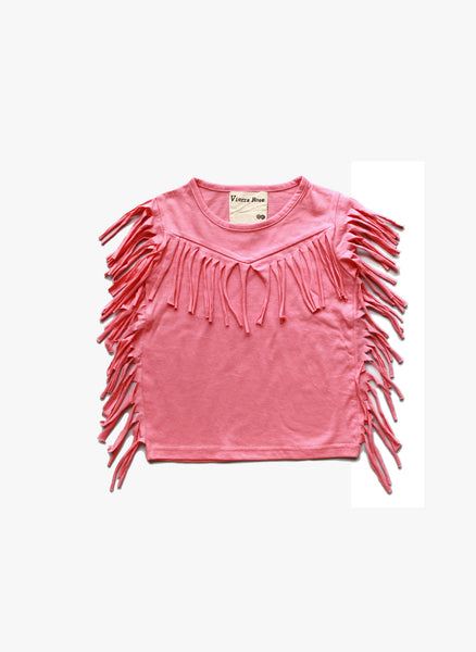 Vierra Rose Gianna Fringe Top in Cupcake Pink - FINAL SALE