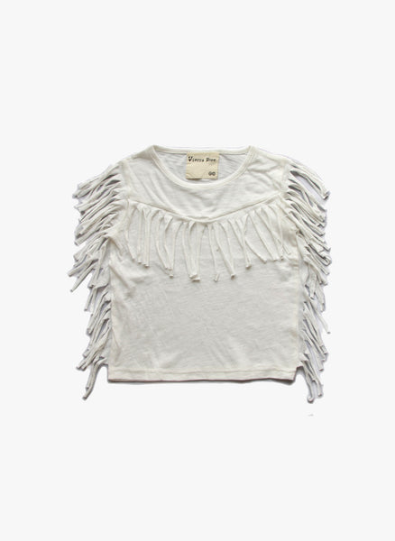Vierra Rose Gianna Fringe Top in Cloud - FINAL SALE