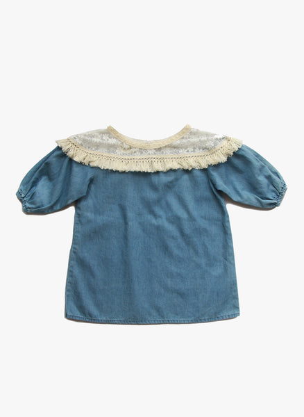 Vierra Rose Holly Lace Yoke Top in Chambray - FINAL SALE