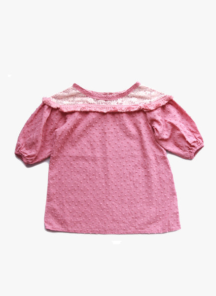 Vierra Rose Holly Lace Yoke Top in Mauve  - FINAL SALE