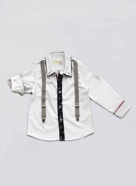 Vierra Rose Hudson Suspender Shirt in Anchor/Cloud - T1006 - FINALE SALE