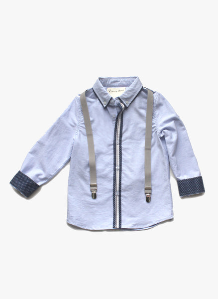 Vierra Rose Hudson Suspender Shirt in Sky Blue - FINAL SALE