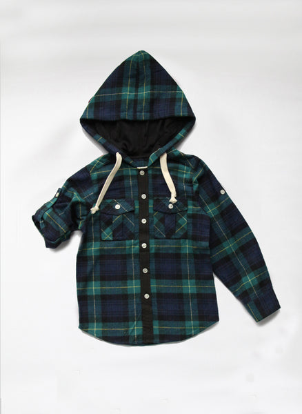 Vierra Rose Hunter Hooded Shirts Green Plaid - T1038 - FINALE SALE